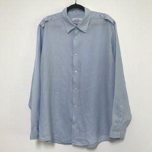 Calvin Klein Men's Linen Shirt Light Blue XL
